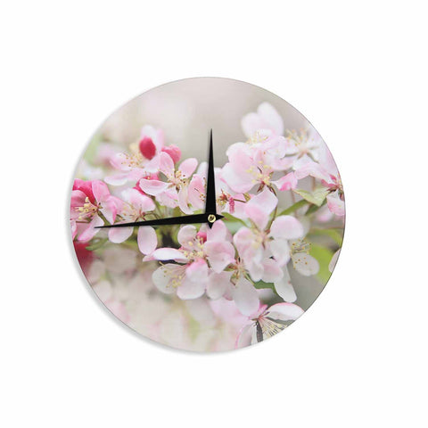 "Sylvia Cook ""April Flowers"" Pink White Wall Clock - KESS InHouse"