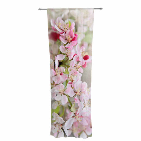"Sylvia Cook ""April Flowers"" Pink White Decorative Sheer Curtain - KESS InHouse  - 1"