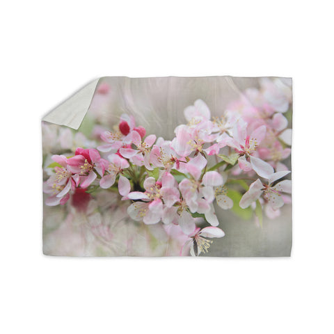 "Sylvia Cook ""April Flowers"" Pink White Sherpa Blanket - KESS InHouse  - 1"