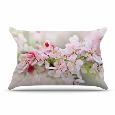 "Sylvia Cook ""April Flowers"" Pink White Pillow Sham - KESS InHouse  - 1"