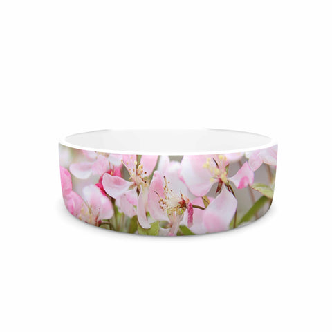 "Sylvia Cook ""April Flowers"" Pink White Pet Bowl - KESS InHouse"