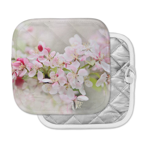 "Sylvia Cook ""April Flowers"" Pink White Pot Holder"