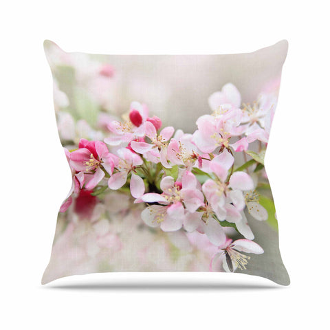 "Sylvia Cook ""April Flowers"" Pink White Outdoor Throw Pillow - KESS InHouse  - 1"