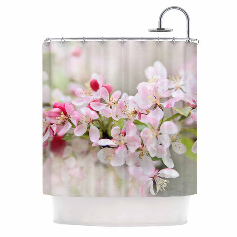 "Sylvia Cook ""April Flowers"" Pink White Shower Curtain - KESS InHouse"