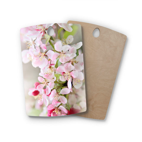 "Syliva Cook ""April Flowers"" Rectangle Wooden Cutting Board"