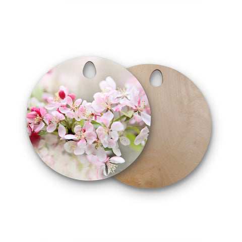 "Syliva Cook ""April Flowers"" Round Wooden Cutting Board"