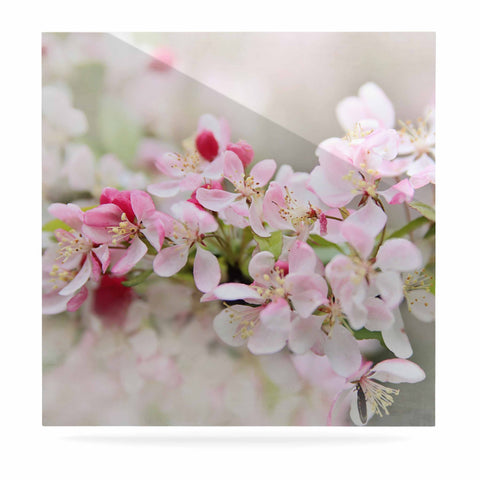 "Sylvia Cook ""April Flowers"" Pink White Luxe Square Panel - KESS InHouse  - 1"