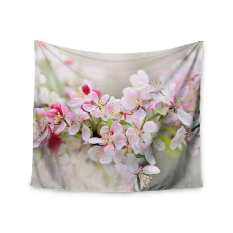 "Sylvia Cook ""April Flowers"" Pink White Wall Tapestry - KESS InHouse  - 1"
