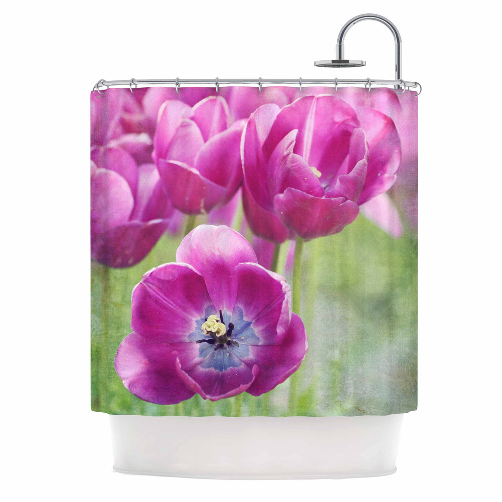 Purple Tulips Shower Curtain By Sylvia Cook