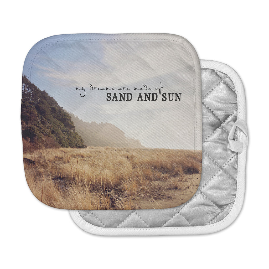 "Sylvia Cook ""Sand And Sun"" Beige Blue Photography Pot Holder"