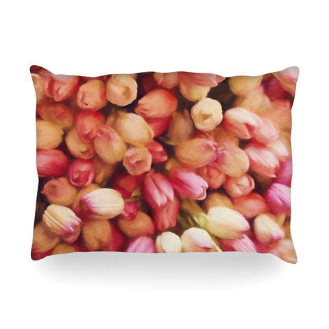"Sylvia Cook ""Tulips"" Orange Yellow Photography Oblong Pillow"
