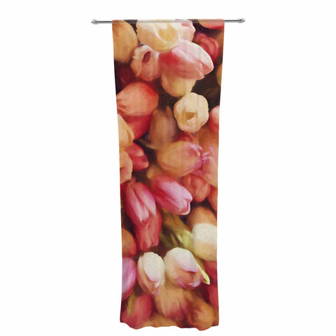"Sylvia Cook ""Tulips"" Orange Yellow Photography Decorative Sheer Curtain"