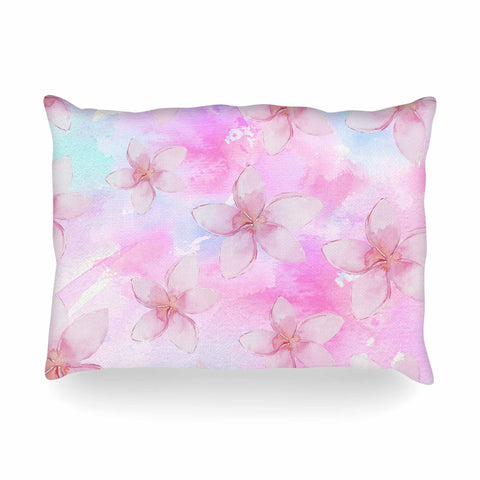 "Sylvia Cook ""Pastel Plumerias"" Pink Purple Digital Oblong Pillow"