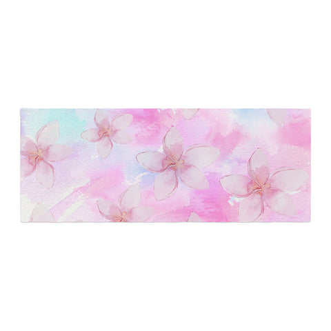 "Sylvia Cook ""Pastel Plumerias"" Pink Purple Digital Bed Runner"
