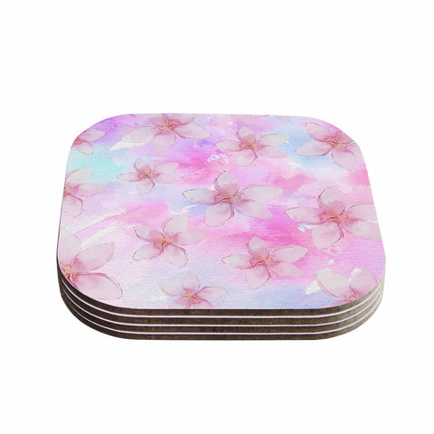 "Sylvia Cook ""Pastel Plumerias"" Pink Purple Digital Coasters (Set of 4)"