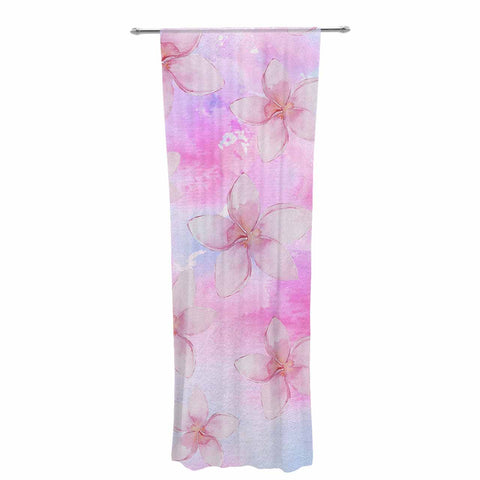 "Sylvia Cook ""Pastel Plumerias"" Pink Purple Digital Decorative Sheer Curtain"