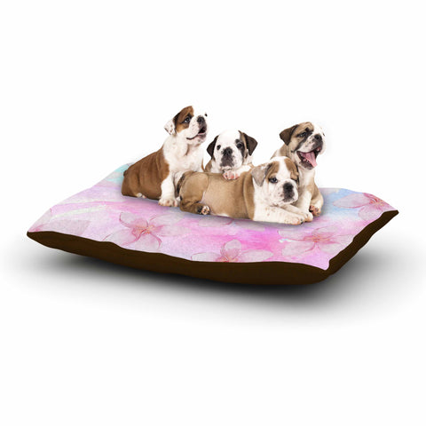 "Sylvia Cook ""Pastel Plumerias"" Pink Purple Digital Dog Bed"
