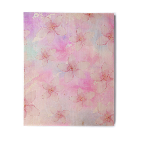 "Sylvia Cook ""Pastel Plumerias"" Pink Purple Digital Birchwood Wall Art"