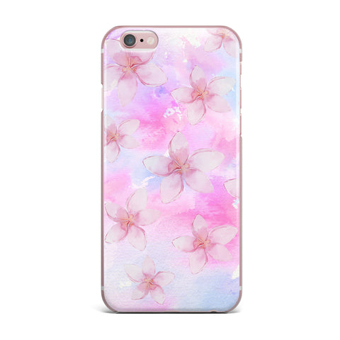 "Sylvia Cook ""Pastel Plumerias"" Pink Purple Digital iPhone Case"