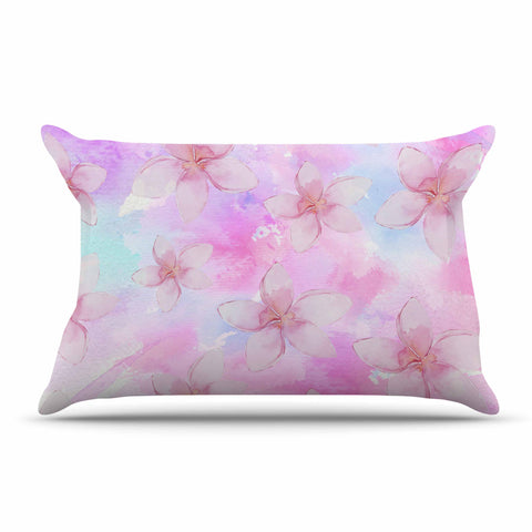 "Sylvia Cook ""Pastel Plumerias"" Pink Purple Digital Pillow Sham"