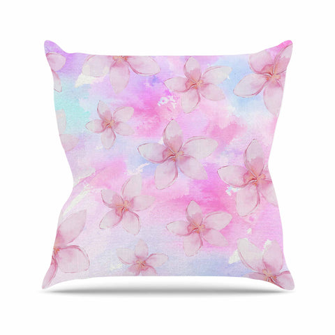 "Sylvia Cook ""Pastel Plumerias"" Pink Purple Digital Outdoor Throw Pillow"