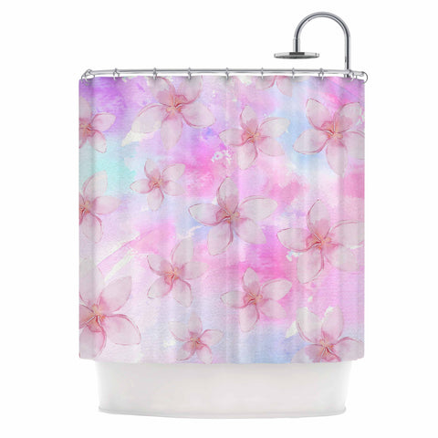 "Sylvia Cook ""Pastel Plumerias"" Pink Purple Digital Shower Curtain"