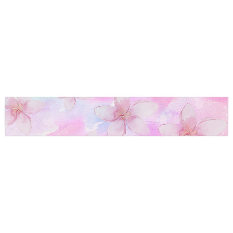 "Sylvia Cook ""Pastel Plumerias"" Pink Purple Digital Table Runner"