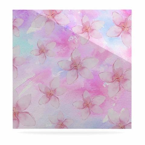 "Sylvia Cook ""Pastel Plumerias"" Pink Purple Digital Luxe Square Panel"