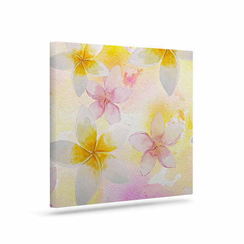 "Sylvia Cook ""White Watercolor Plumerias"" Yellow Pink Digital Canvas Art"
