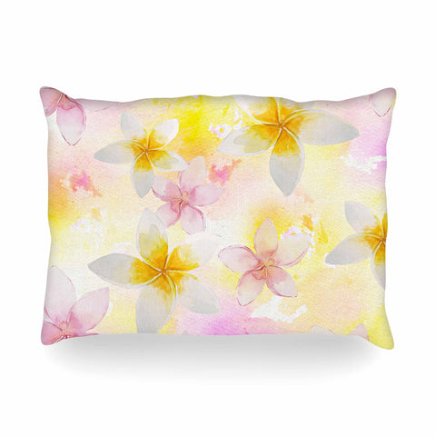 "Sylvia Cook ""White Watercolor Plumerias"" Yellow Pink Digital Oblong Pillow"