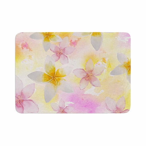 "Sylvia Cook ""White Watercolor Plumerias"" Yellow Pink Digital Memory Foam Bath Mat"