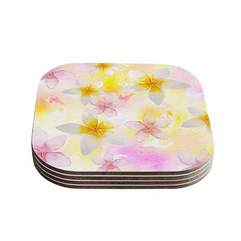 "Sylvia Cook ""White Watercolor Plumerias"" Yellow Pink Digital Coasters (Set of 4)"