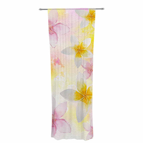 "Sylvia Cook ""White Watercolor Plumerias"" Yellow Pink Digital Decorative Sheer Curtain"