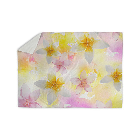 "Sylvia Cook ""White Watercolor Plumerias"" Yellow Pink Digital Sherpa Blanket"