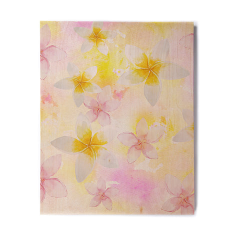 "Sylvia Cook ""White Watercolor Plumerias"" Yellow Pink Digital Birchwood Wall Art"
