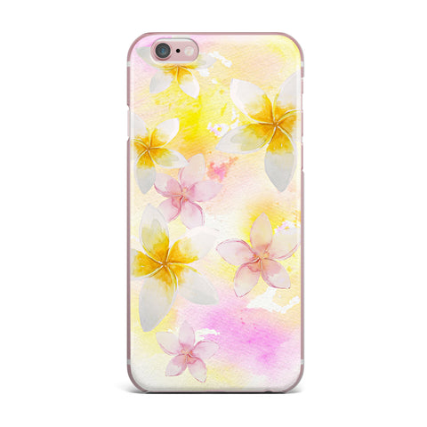 "Sylvia Cook ""White Watercolor Plumerias"" Yellow Pink Digital iPhone Case"