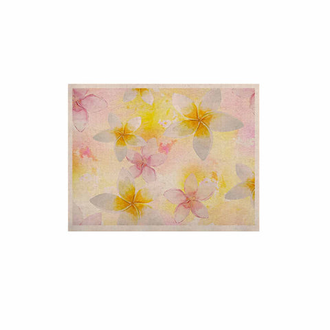 "Sylvia Cook ""White Watercolor Plumerias"" Yellow Pink Digital KESS Naturals Canvas (Frame not Included)"