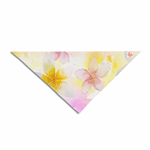"Sylvia Cook ""White Watercolor Plumerias"" Yellow Pink Digital Pet Bandana"