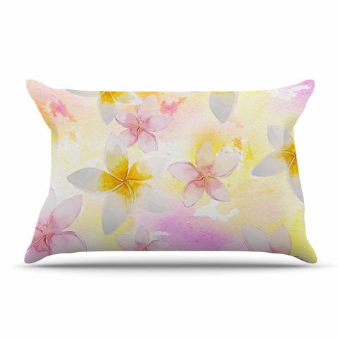 "Sylvia Cook ""White Watercolor Plumerias"" Yellow Pink Digital Pillow Sham"
