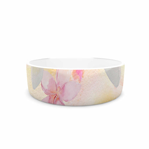 "Sylvia Cook ""White Watercolor Plumerias"" Yellow Pink Digital Pet Bowl"