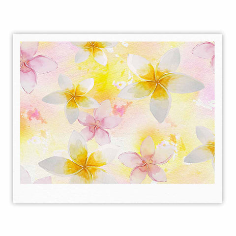 "Sylvia Cook ""White Watercolor Plumerias"" Yellow Pink Digital Fine Art Gallery Print"