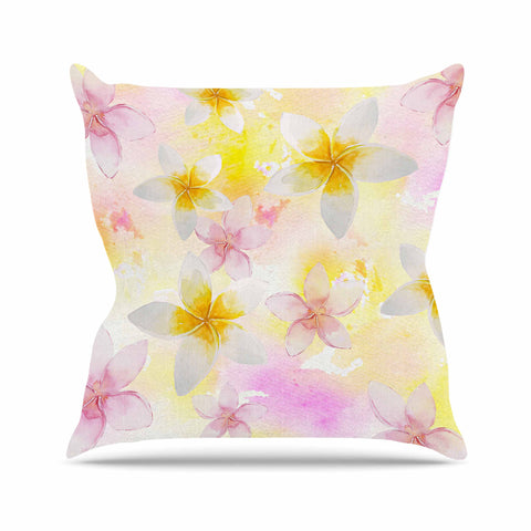 "Sylvia Cook ""White Watercolor Plumerias"" Yellow Pink Digital Outdoor Throw Pillow"