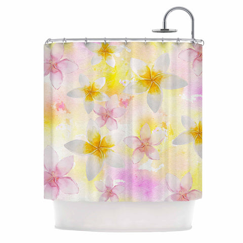"Sylvia Cook ""White Watercolor Plumerias"" Yellow Pink Digital Shower Curtain"