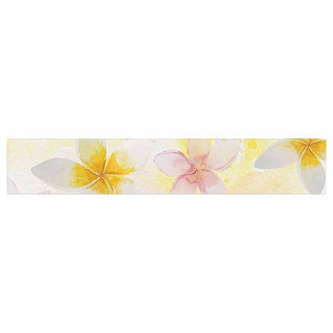 "Sylvia Cook ""White Watercolor Plumerias"" Yellow Pink Digital Table Runner"