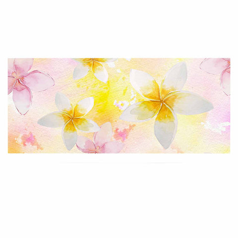 "Sylvia Cook ""White Watercolor Plumerias"" Yellow Pink Digital Luxe Rectangle Panel"