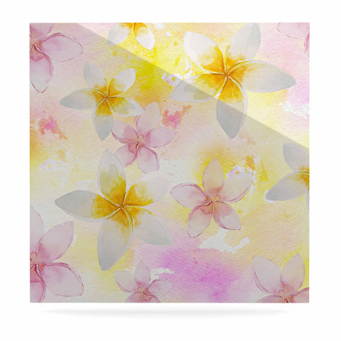 "Sylvia Cook ""White Watercolor Plumerias"" Yellow Pink Digital Luxe Square Panel"
