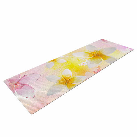 "Sylvia Cook ""White Watercolor Plumerias"" Yellow Pink Digital Yoga Mat"