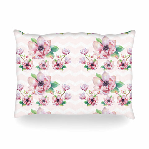 "Sylvia Cook ""Watercolor Magnolias"" Pink Green Digital Oblong Pillow"