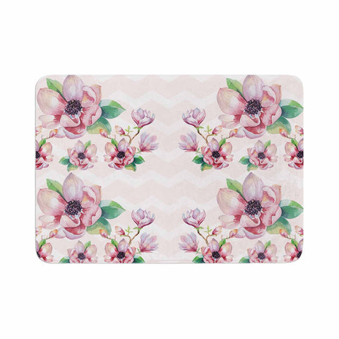 "Sylvia Cook ""Watercolor Magnolias"" Pink Green Digital Memory Foam Bath Mat"