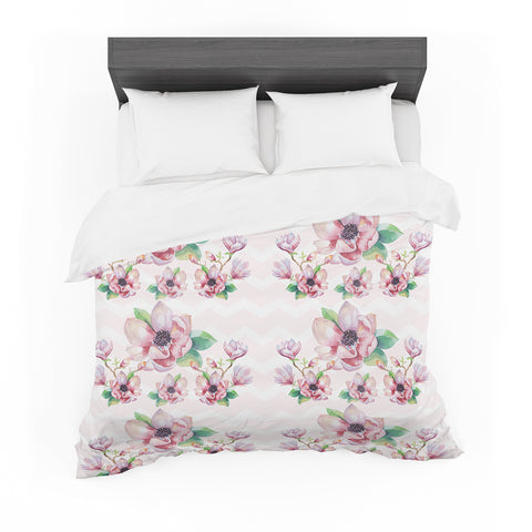 "Sylvia Cook ""Watercolor Magnolias"" Pink Green Digital Featherweight Duvet Cover"